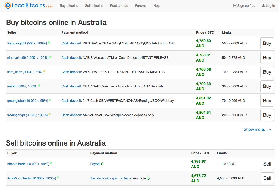 Trouvez une liste qui vend du bitcoin